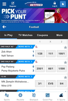 Betfred Screenshot On Mobile